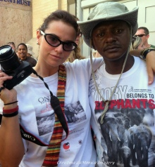 Jim Justus Nyamu of the Elephant Neighbors Center in Nairobi, Kenya and Christina LaMonica.